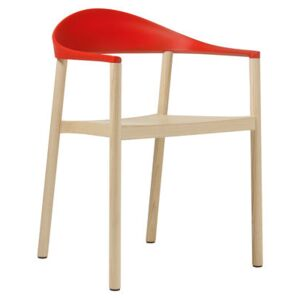 Monza Stackable armchair - Plastic & wood by Plank Red/Natural wood