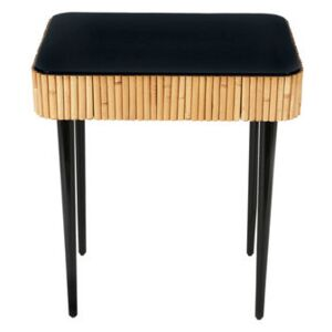 Riviera End table - / Rattan - Drawer by Maison Sarah Lavoine Black/Natural wood