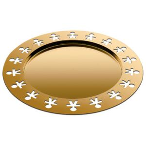 Girotondo Or 24 carats Tray - / Ø 40 cm - Limited, numbered edition by Alessi Gold/Metal