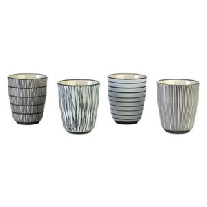 Pastel Afresh Cup - Set of 4 - Hand painted by Pols Potten White/Black