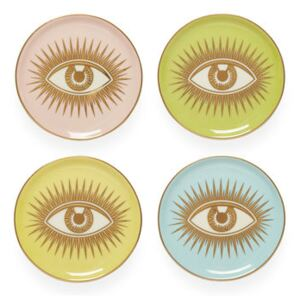 Le wink Glass coaster - / Set of 4 – Porcelain & gold by Jonathan Adler Blue/Pink/Yellow/Green