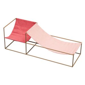 Duo Seat Armchair - / Double seat - 180 x 60 cm - Linen & steel by valerie objects Pink/Red