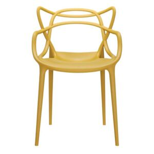 Masters Stackable armchair - Plastic by Kartell Yellow/Beige