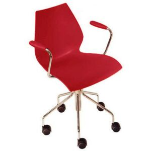 Maui Armchair on casters by Kartell Red