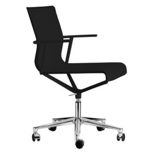 Stick Chair Armchair on casters - With castors - Leather seat by ICF Black