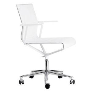 Stick Chair Armchair on casters - With castors - Leather seat by ICF White