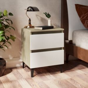 Bed Cabinet White and Sonoma Oak 40x35x50 cm Chipboard