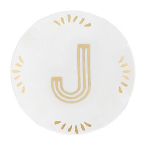 Lettering Petit fours plates - Ø 12 cm / Letter J by Bitossi Home White/Gold