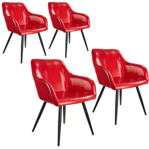 Tectake 404099 4 marilyn faux leather chairs - red/black