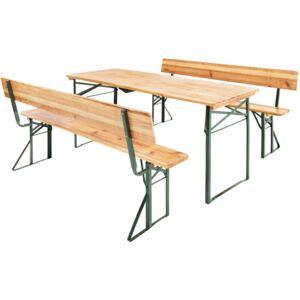 Tectake 402503 table and bench set 176cm with backrest - brown