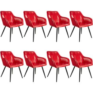 Tectake 404101 8 marilyn faux leather chairs - red/black