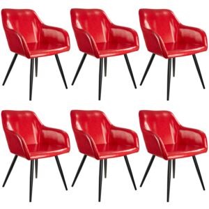 Tectake 404100 6 marilyn faux leather chairs - red/black