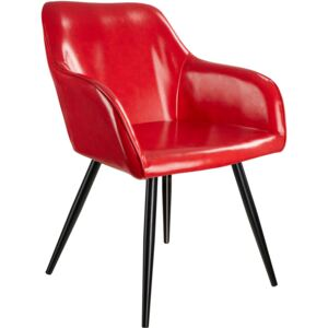 Tectake 403675 marilyn faux leather chair - red/black