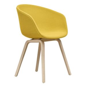 About a chair AAC23 Padded armchair - / Integral fabric & matt varnished oak by Hay Yellow/Natural wood