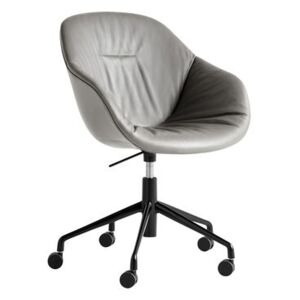 About a chair AAC153 Soft Armchair on casters - / Padded - High backrest- Full quilted leather by Hay Grey