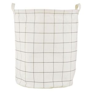 Squares Laundry basket - / Ø 40 x H 50 cm by House Doctor White/Black