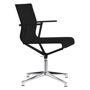 Stick Chair Swivel armchair - 4 legs - Leather seat by ICF Black