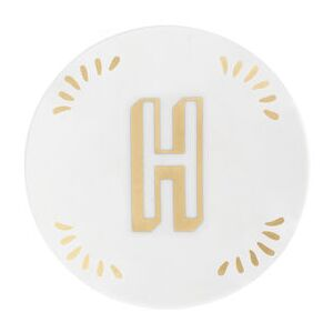 Lettering Petit fours plates - Ø 12 cm / Letter H by Bitossi Home White/Gold