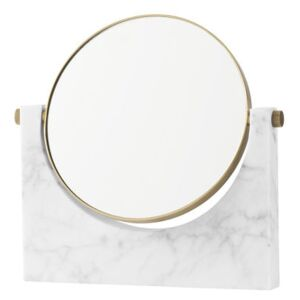 Pepe Marble Free standing mirrors - Marble & brass - 26 x 25 cm by Menu White
