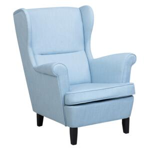 Wingback Chair Armchair Blue Fabric Upholstered Rolled Arms Retro Beliani