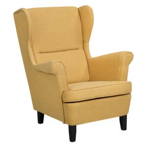 Wingback Chair Armchair Yellow Fabric Upholstered Rolled Arms Retro Beliani