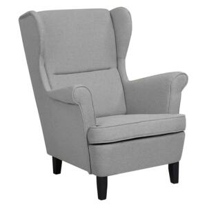 Wingback Chair Armchair Grey Fabric Upholstered Rolled Arms Retro Beliani