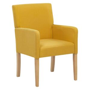 Dining Chair Yellow Fabric Upholstery Wooden Legs Elegant Seat with Arms Beliani