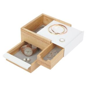 Stowit Small Jewellery box - / 17 x 15 cm by Umbra White/Natural wood