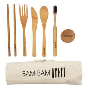 Bam Bam Bamboo meal kit - / Cutlery & toothbrush - Ecological by Cookut Natural wood