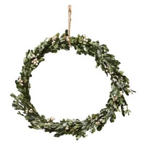 Misteltoe Large Christmas wreath - / Ø 35 cm - Artificial boxwood & berries by House Doctor Green