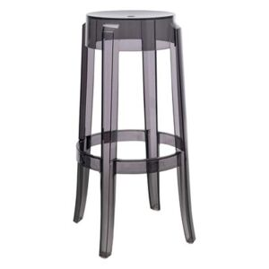 Charles Ghost Stackable bar stool - H 75 cm - Plastic by Kartell Grey