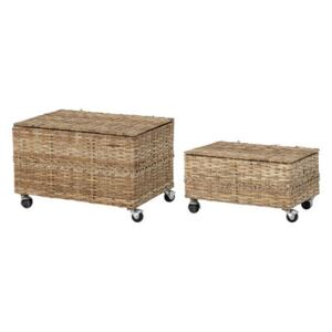 Nature Box - / Set of 2 - With casters / Rattan by Bloomingville Beige