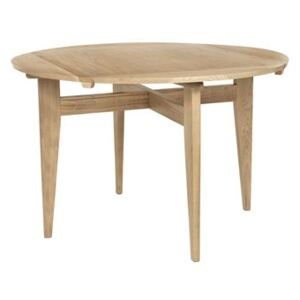 B-Table Extending table - / 1950 reissue / Round or square top: 85 x 85 or Ø 116 cm by Gubi Natural wood