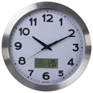 Perel Wall Clock 35 cm White and Sliver