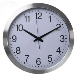 Perel Wall Clock 40 cm White and Sliver