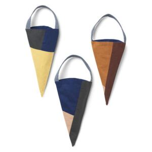 Christmas decoration - / Set of 3 cones to hang - Fabric by Ferm Living Multicoloured