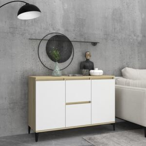 Sideboard White and Sonoma Oak 104x35x70 cm Chipboard