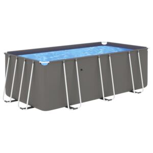 VidaXL Swimming Pool with Steel Frame 400x207x122 cm Anthracite