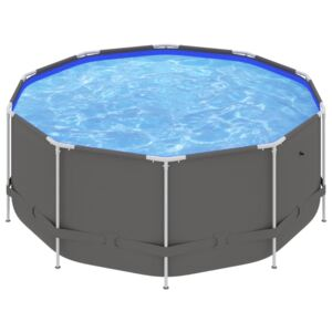 Swimming Pool with Steel Frame 367x122 cm Anthracite