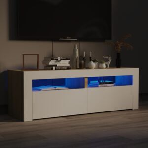 TV Cabinet with LED Lights White and Sonoma Oak 120x35x40 cm
