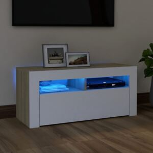 VidaXL TV Cabinet with LED Lights White and Sonoma Oak 90x35x40 cm