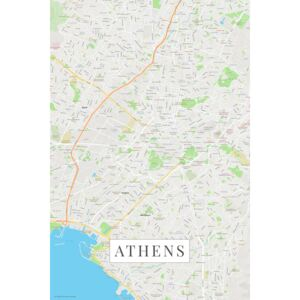 Map Athens color, POSTERS