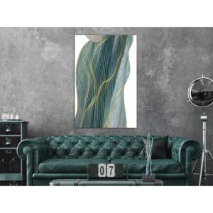 Canvas Print Abstract: Turquoise Wave (1 Part) Vertical