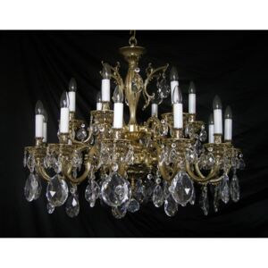 18-arms cast brass chandelier with large crystal almonds