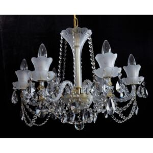 6-arm crystal chandelier made of sand blasted glass & cut crystal almonds