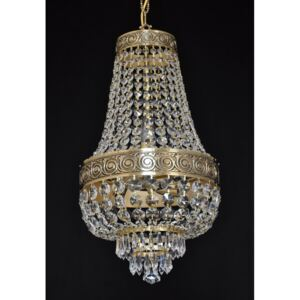 Small Basket crystal chandelier - Cast brass with highlighted ornament