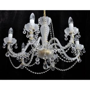 6-arm crystal chandelier made of sand blasted glass & cut crystal balls