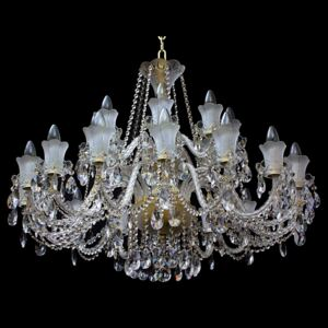 18 Arms Crystal chandelier made of sand blasted glass & cut crystal almonds