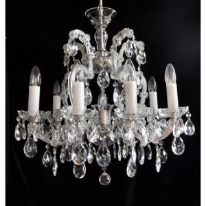 10-flame silver Maria Theresa chandelier with crystal almonds