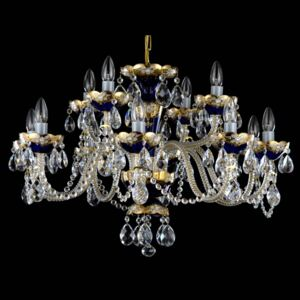 12 Arms Blue enameled crystal chandelier with glass flowers & almonds